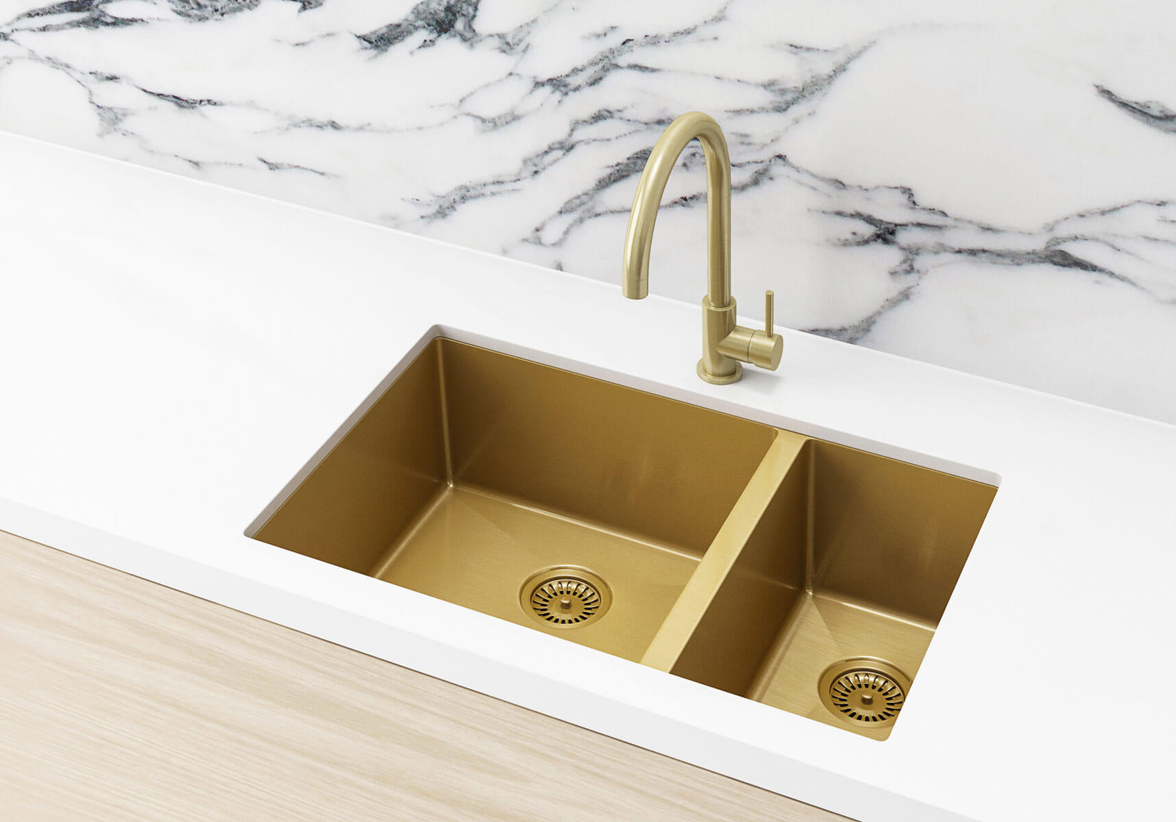 One And Half Bowl Kitchen Sink In Brushed Bronze Gold By Meir