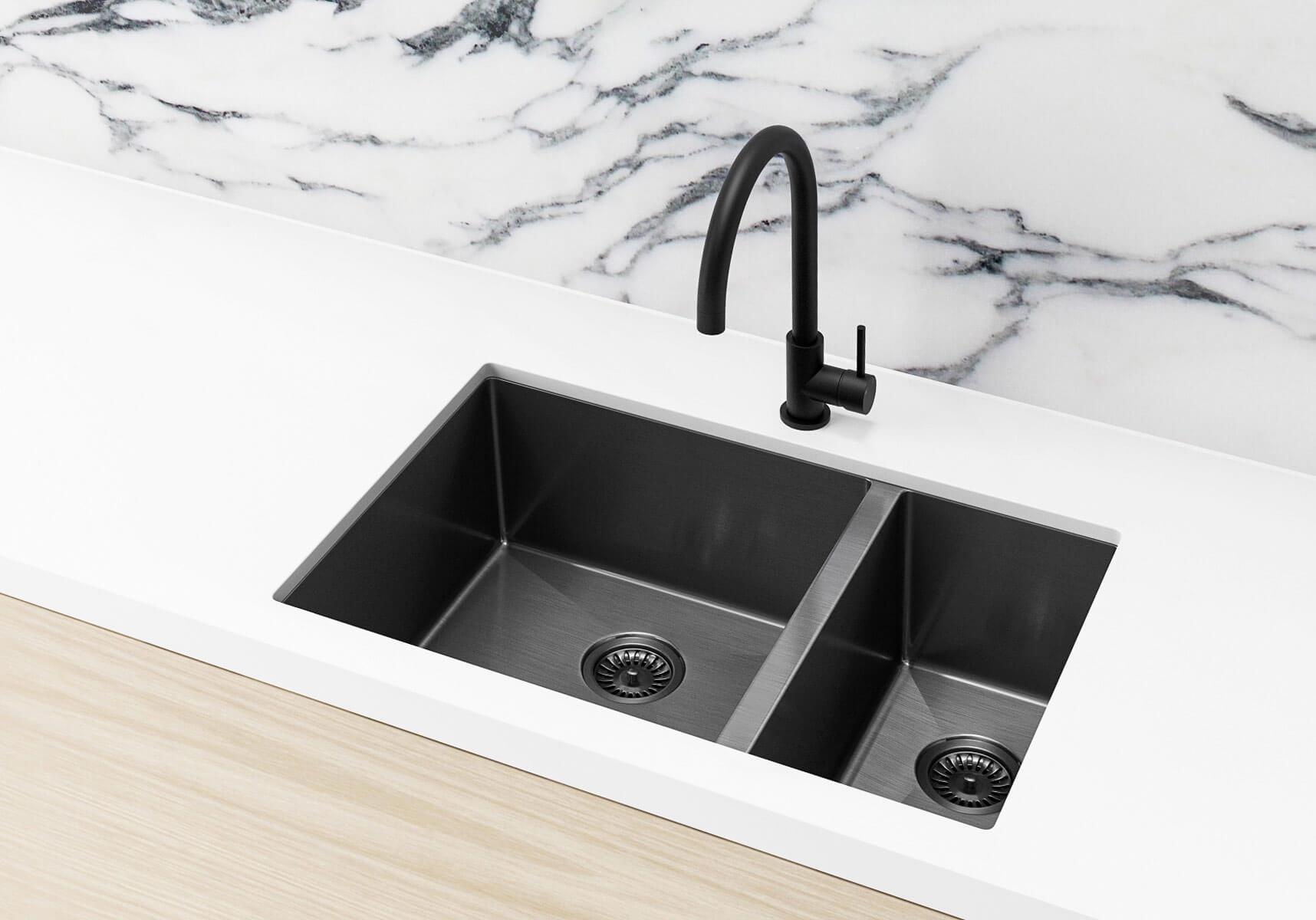 Stainless Steel Double Bowl PVD Kitchen Sink - Brushed Gun Metal (Nano)  670x440x200mm