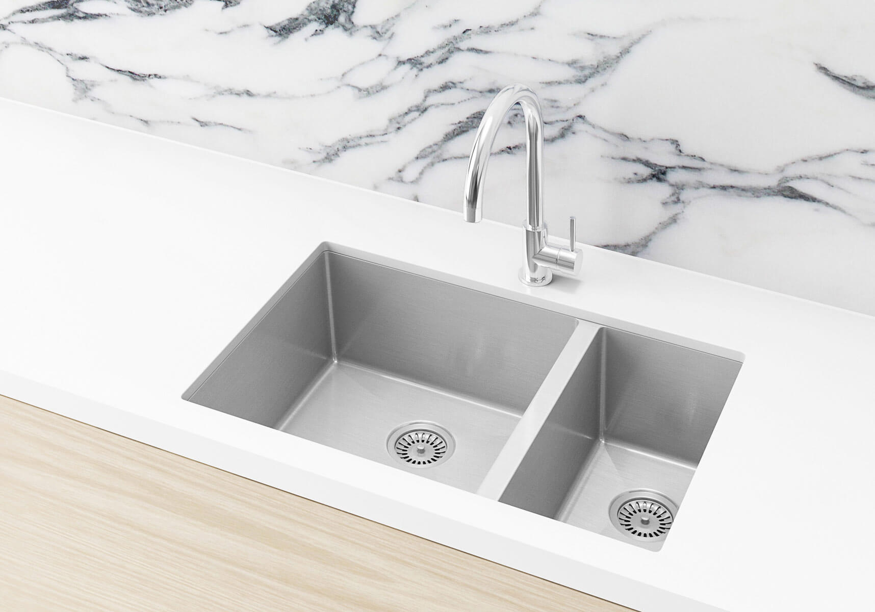 Stainless Steel Double Bowl PVD Kitchen Sink - Brushed Nickel (Nano)  670x440x200mm