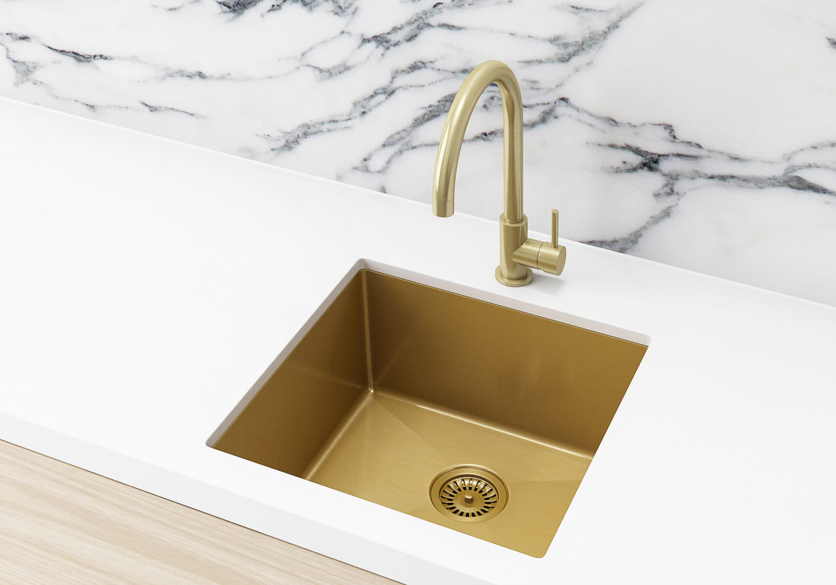 Single Bowl Kitchen Sink In Brushed Gold Pvd With Nanotechnology