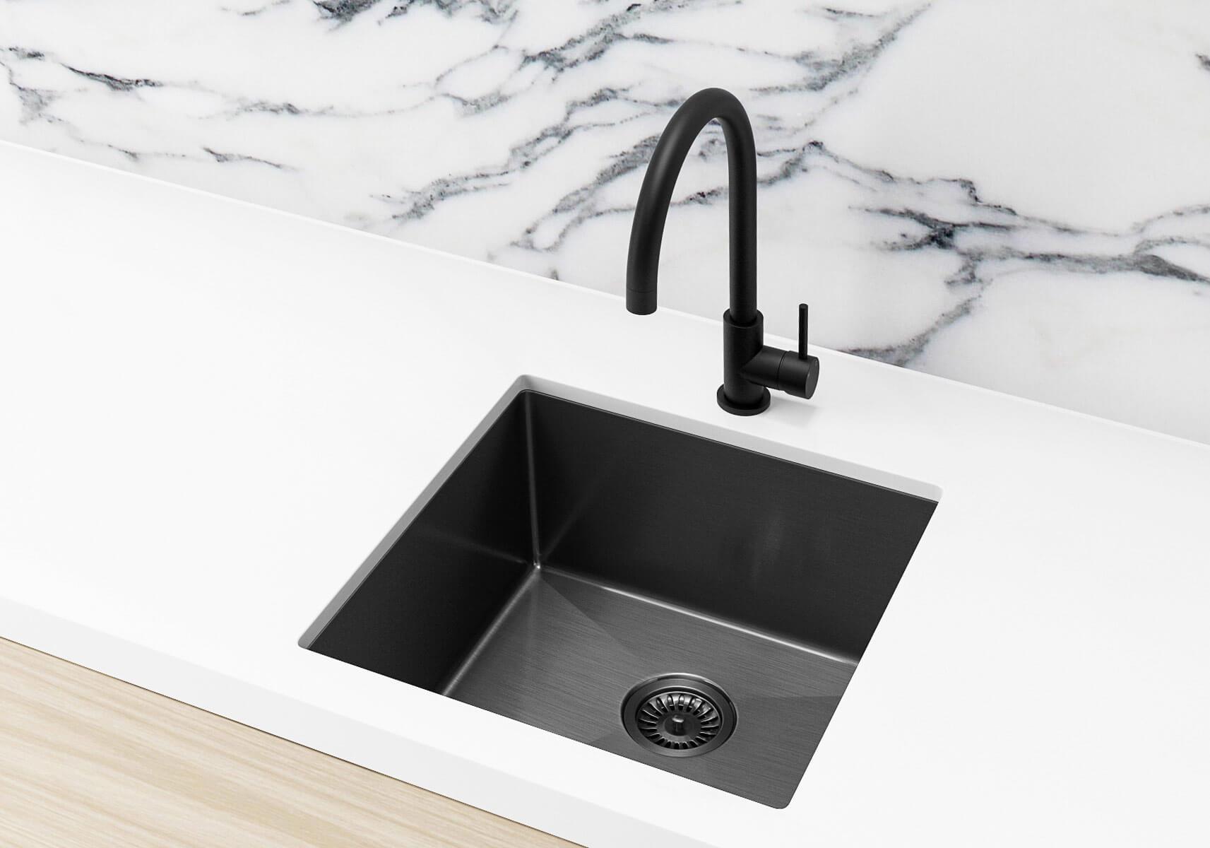 Single Bowl Pvd Kitchen Sink In Brushed Gun Metal 450x450x200mm